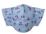 Masque en tissu en coton lavable avec compartiment filtre – Bleu fleuri