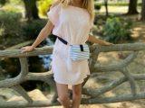 Sac YANG, à porter en bandoulière ou à la ceinture – Rayures gris et blanc