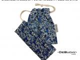 Ensemble masque et pochette, Liberty Bleu de chine
